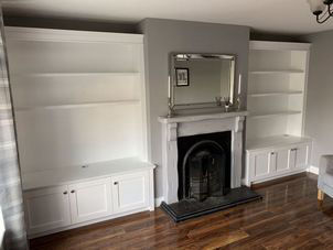Full hight alcove units spray painted in white