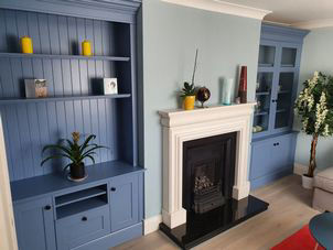 Alcove unit in peacock blue